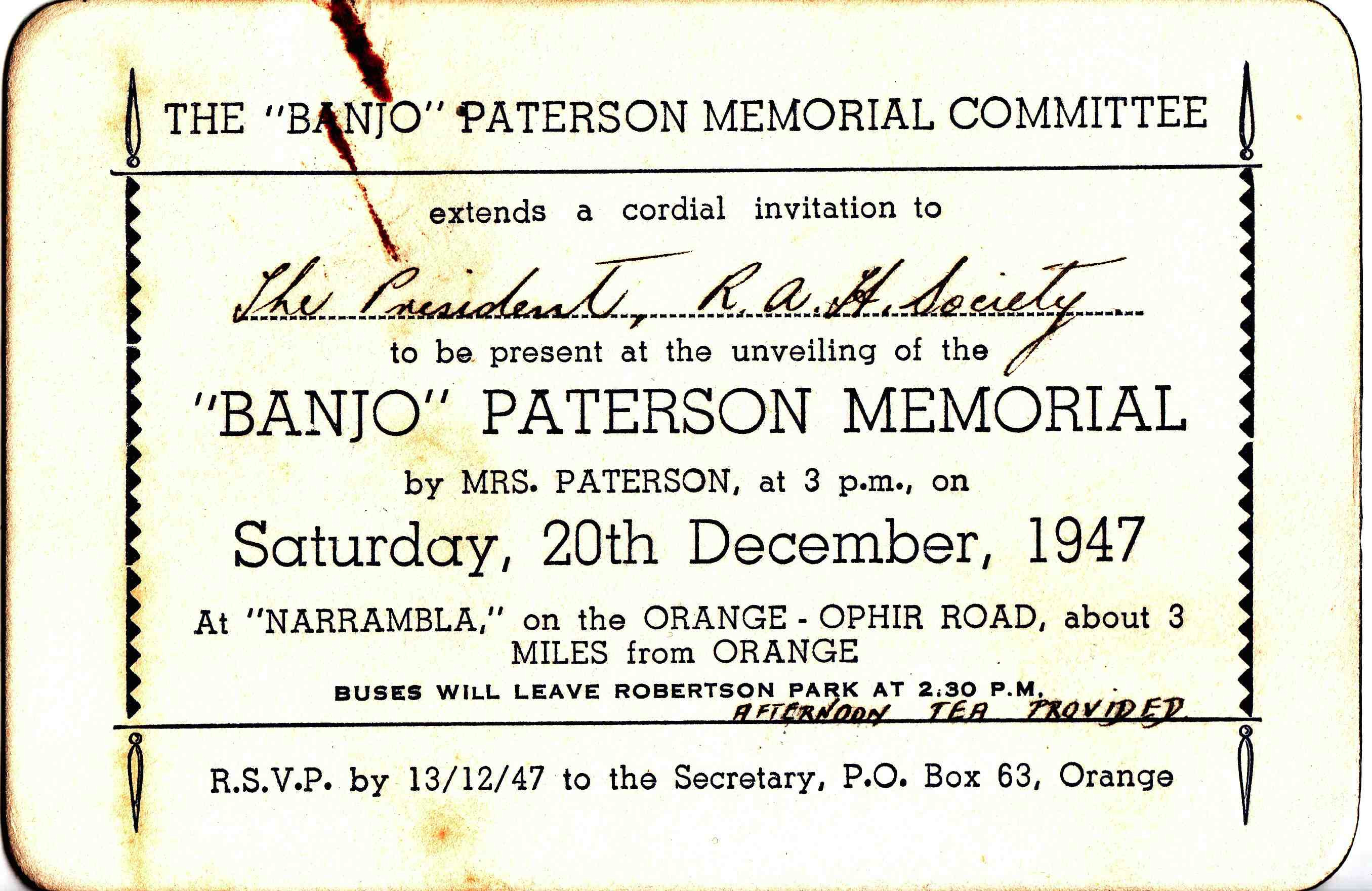 Banjo Paterson memorial invite 1947
