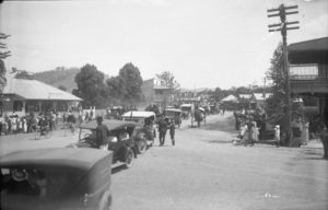 Procession at the corner of Grafton Street and High Street, Coffs Harbour c.1925 [Coffs Harbour Collection, courtesy of Coffs Harbour Regional Museum]