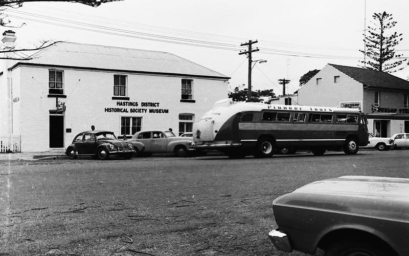 Pioneer bus at the Hastings District Historical Society Museum, 1967