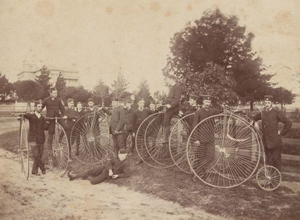 Members of the Melbourne Bicycle Club with their penny-farthings, 1878 [Image courtesy National Library of Australia, an5117501]