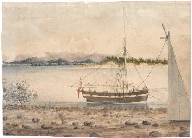 Mermaid at anchorage in Endeavour River, 1819, Phillip Parker King. Watercolour from album of drawings and engravings. [Image courtesy State Library of NSW, PXC 767, f. 86]