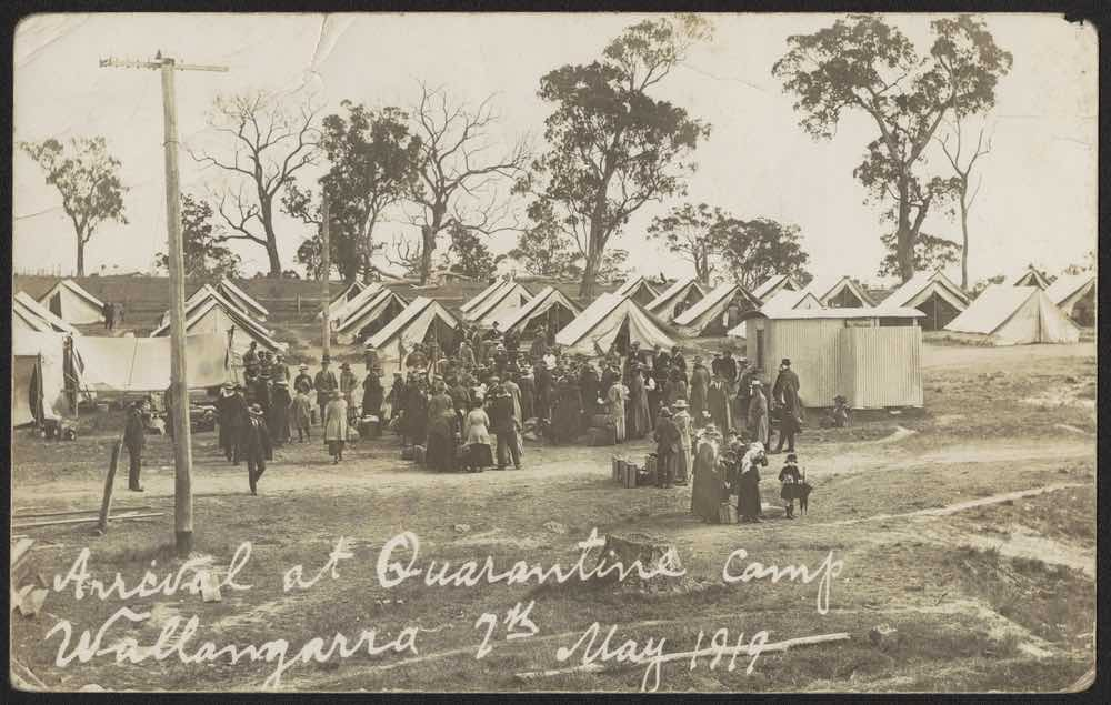 Arrival at quarantine camp Wallangara, 7 May 1919 [Image courtesy State Library of Victoria, H2016.356_1]