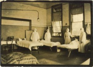 Nowra Public School converted into a temporary hospital for pneumonic influenza epidemic, 1919 [Image courtesy Sydney Living Museums, 41328]