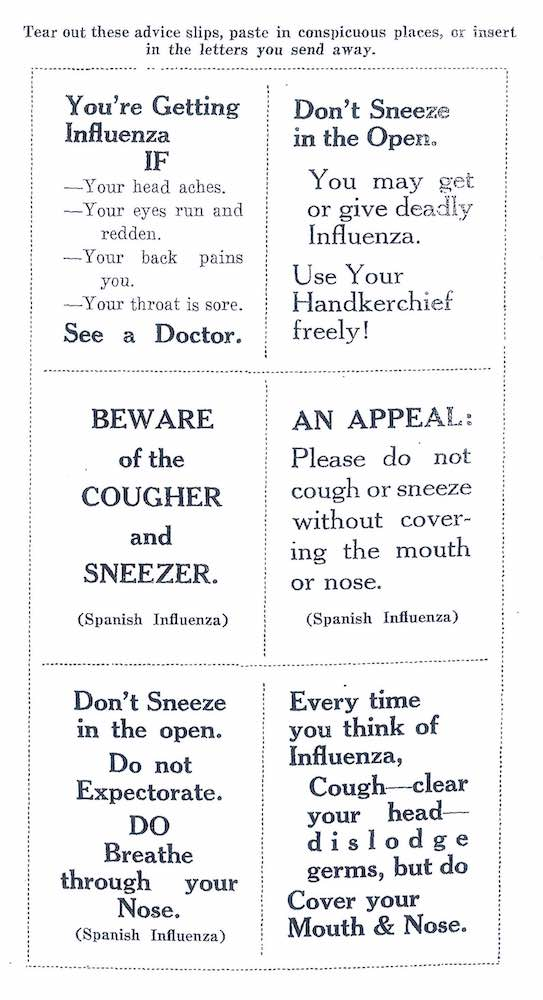Excerpt from Wade Oliver, 'Spanish Influenza: All About It', (Melbourne: Speciality Press, 1919), p. 24.