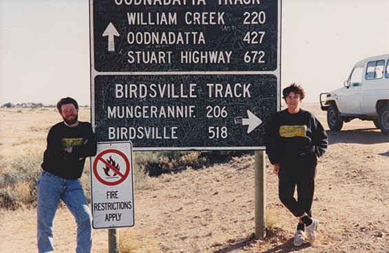 Judy Birmingham and Andrew Wilson at the junction of the Birdsville and Oodnadatta tracks on Central Australia fieldwork in 1994. [Photograph by Alistair Patterson]