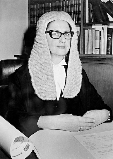 Roma Mitchell wearing the robes and full bottomed wig of a Justice of the Supreme Court of South Australia, 1965 [Image courtesy National Archives of Australia, A1200, L52938]