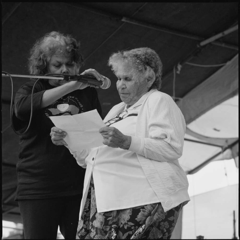Mum Shirl (Mrs Shirley Smith) speaking at the Australia Day ceremony at the Aboriginal Tent Embassy in front of Old Parliament House, Canberra, 26 January 1998 / Loui Seselja [Image courtesy National Library of Australia, NL38352]