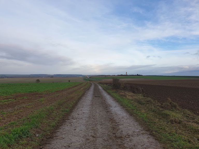 The walking track from Villers-Bretonneux to the Australian National Memorial, seen in the distance. Photograph by Elizabeth Heffernan, 2019.