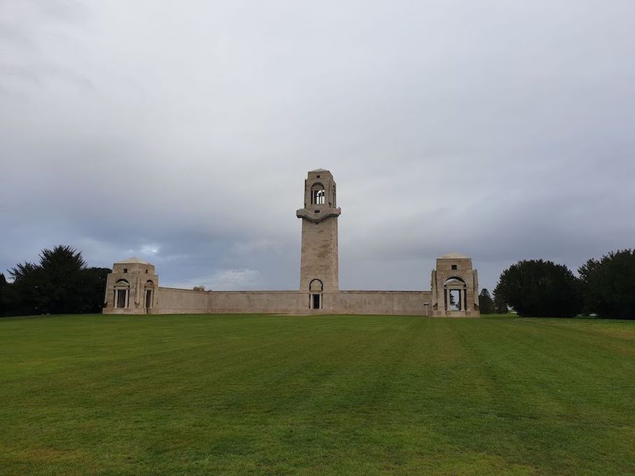 The Australian National Memorial. The new Sir John Monash Centre is situated behind the monument, half-buried in the ground with a grass roof so as to not detract from the memorial itself. Photograph by Elizabeth Heffernan, 2019.