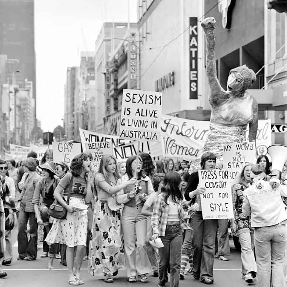 Protestors at the first IWD rally in Melbourne, 1975.