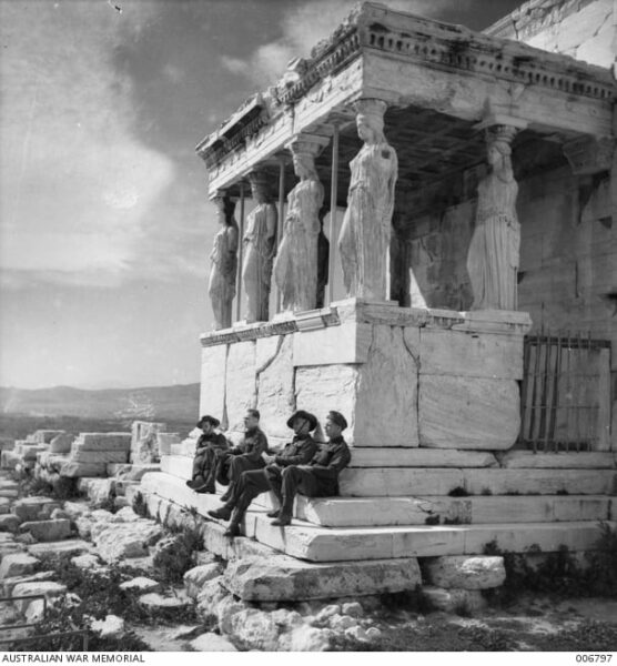 Australian soldiers on leave in Athens visit the Acropolis.